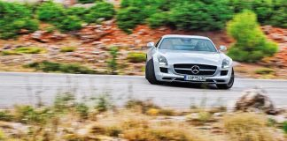 Mercedes SLS sideways